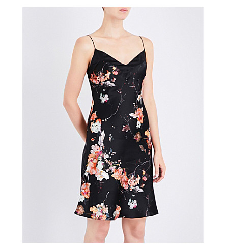 MENG Floral-print silk-satin slip dress (Black
