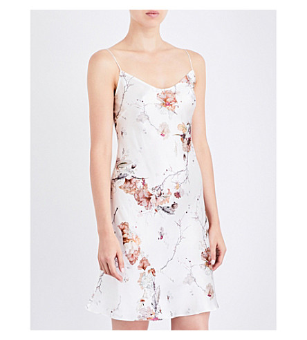 MENG Floral-print silk-satin slip dress (White