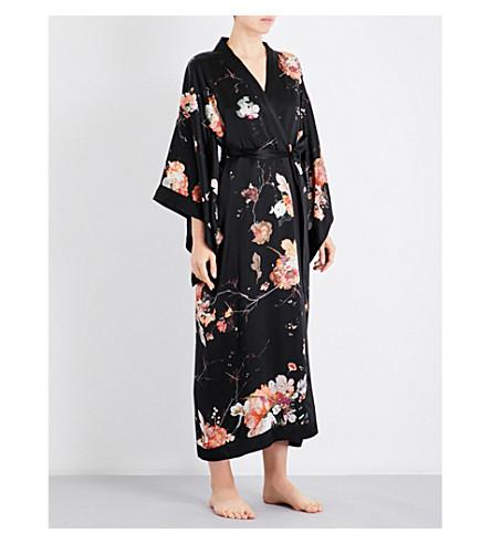 MENG Floral-print silk-satin kimono robe (Black