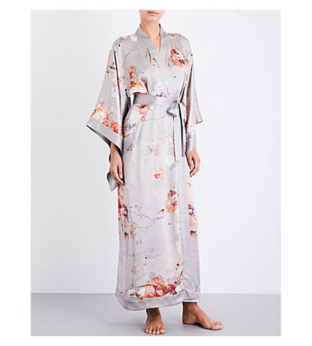 MENG Floral-print silk-satin robe (Earth