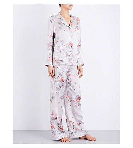 MENG Pearl-print silk-satin pyjama set (Earth