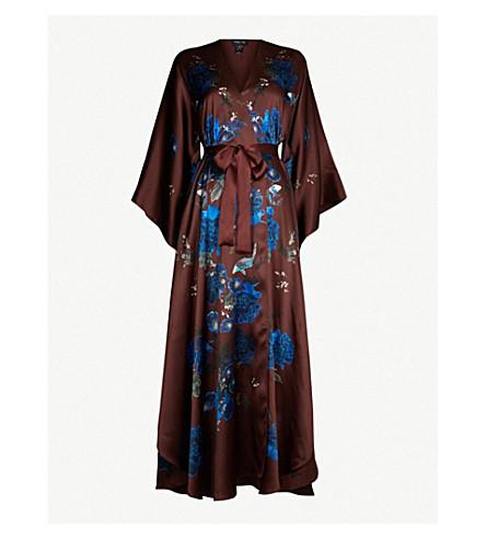 MENG Floral-print silk-satin kaftan (Brown