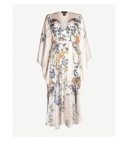 MENG Floral-pattern batwing-sleeve silk robe (Pink