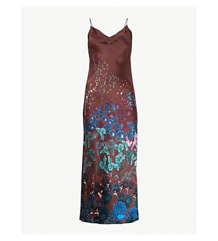 MENG Floral-print silk-satin slip dress (Brown