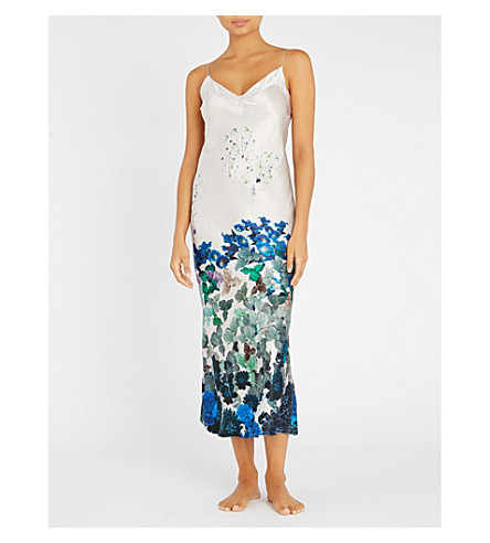 MENG Floral-print silk-satin slip dress (White