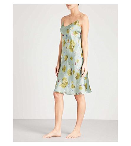 MENG Floral-print silk-satin slip dress (Green