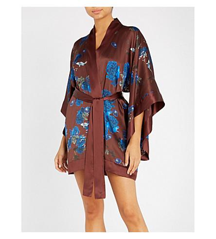 MENG Floral-print silk-satin kimono (Brown