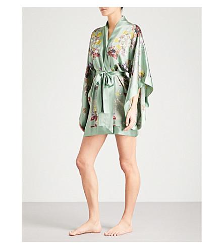 MENG Floral-print silk-satin kimono robe (Green