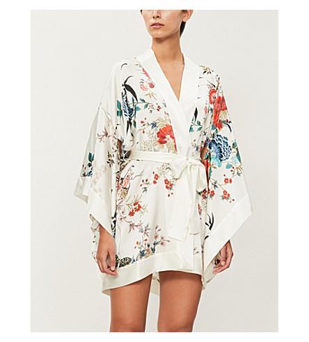 MENG Floral-print silk-satin kimono robe (White