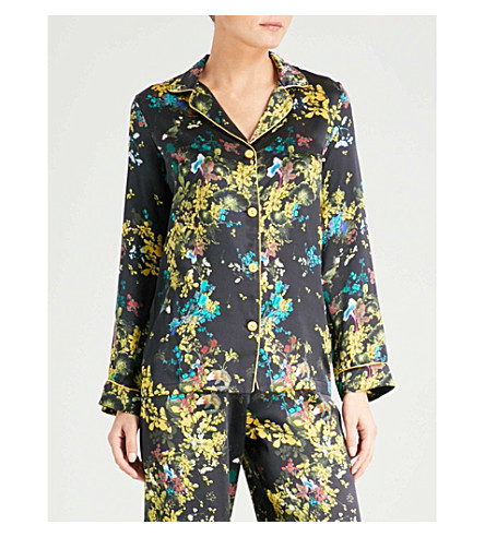 MENG Floral-print silk-satin pyjama top (Black+gold+print