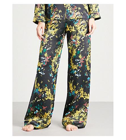 MENG Floral-print silk-satin pyjama trousers (Black+gold+print