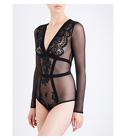 ID SARRIERI Toujours Amour lace and stretch silk-satin body (Black