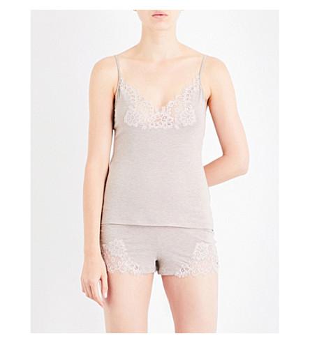 ID SARRIERI Lace-insert stretch-jersey camisole (Cafe+au+lait