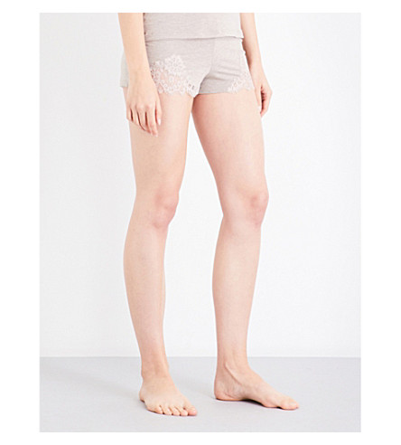 ID SARRIERI Lace-trim stretch-jersey shorts (Cafe+au+lait
