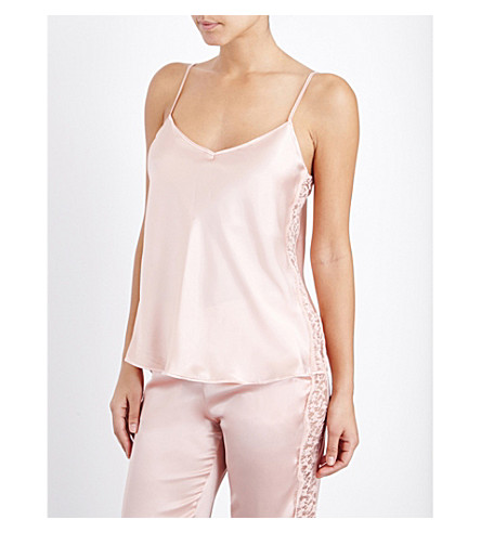 ID SARRIERI V-neck silk-blend and lace camisole (Blush