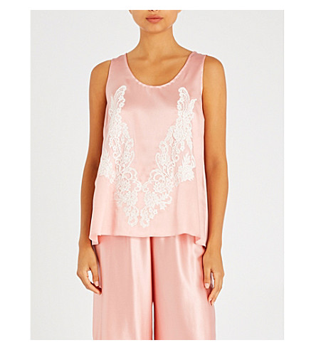 ROSAMOSARIO Lace-trimmed silk-satin pyjama top (Pink+white+lace