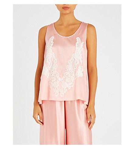 ROSAMOSARIO Rosa silk top (Pink+white+lace