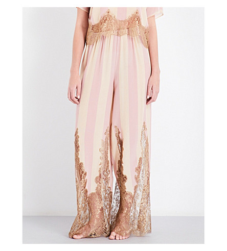 ROSAMOSARIO Striped lace-trimmed silk pyjama bottoms (Peach+beige