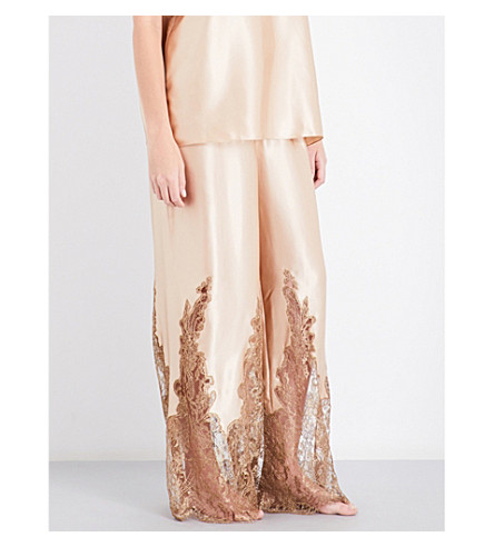 ROSAMOSARIO High-rise wide silk-satin pyjama bottoms (Gold
