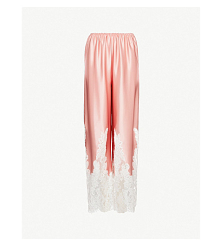 ROSAMOSARIO Lace-trimmed silk-satin pyjama bottoms (Pink+white+lace