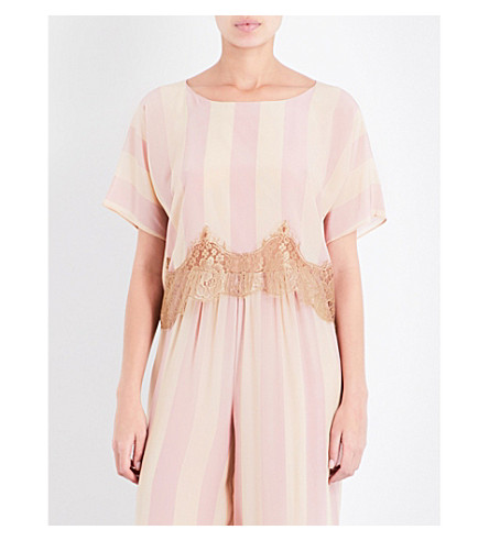 ROSAMOSARIO Striped lace-trimmed silk-satin pyjama top (Peach+beige