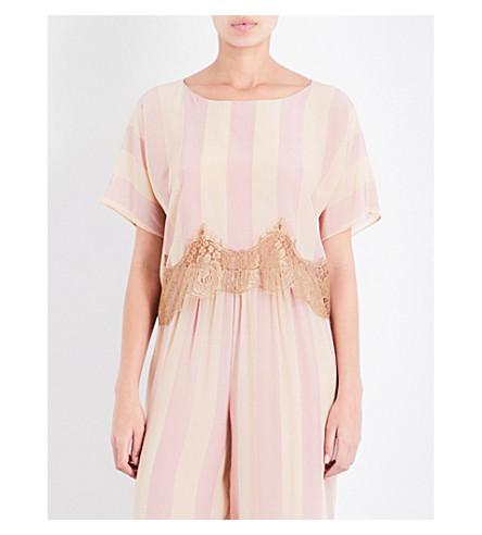 ROSAMOSARIO Striped lace-trimmed silk-satin pyjama top (Peach+beige