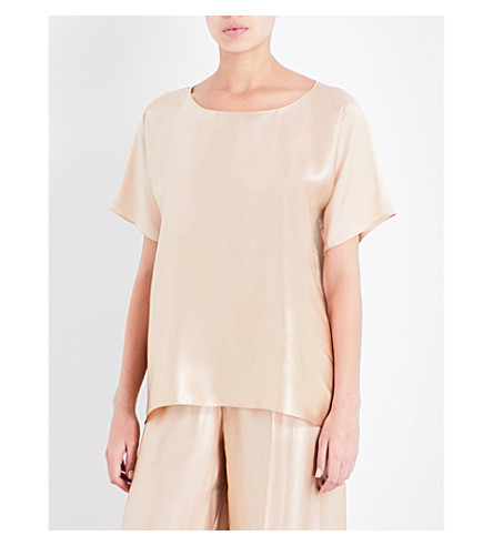 ROSAMOSARIO Loose-fit silk T-shirt (Gold