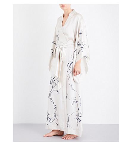 CARINE GILSON Floral-print silk-satin kimono robe (Calligraphiorchideenacre