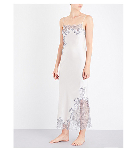 CARINE GILSON Chantilly lace-trim silk-satin robe (Nacre+nacreminuit