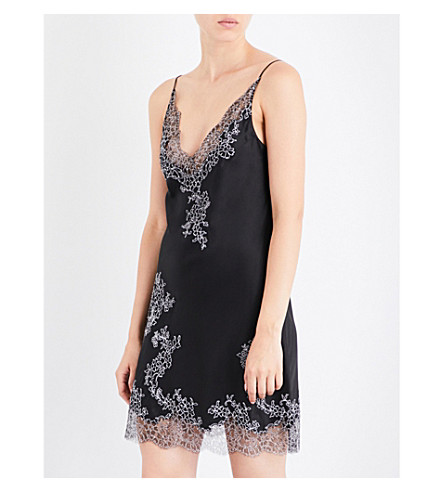 CARINE GILSON Chantilly lace-trim silk-satin chemise (Black+noirnacre