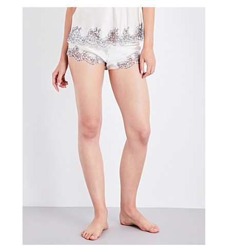 CARINE GILSON Chantilly lace-trim silk-satin shorts (Nacre+nacreminuit