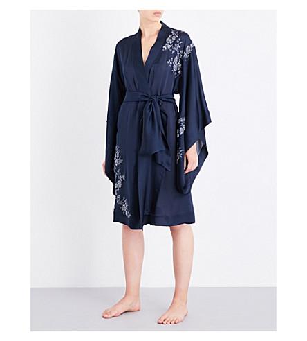 CARINE GILSON Chantilly lace-trim silk-crepe kimono robe (Minuit+nacreminuit