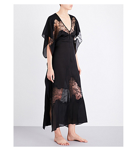 CARINE GILSON Chantilly lace-trim silk-crepe kaftan (Black