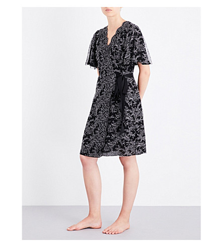 CARINE GILSON Chantilly lace and stretch-silk robe (Blacknacre