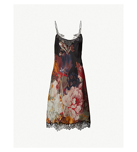 CARINE GILSON Floral-print silk-satin and lace nightdress (Tubereuse rouge/black