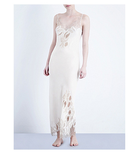 CARINE GILSON Florence lace and silk-satin nightdress (Mist/gin fizz