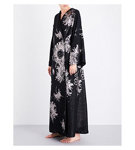 CARINE GILSON Metallic silk-jacquard kimono robe (Black+argent+black