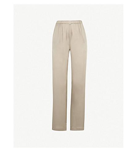 CARINE GILSON Straight silk-crepe de chine pyjama bottoms (Gris tendre