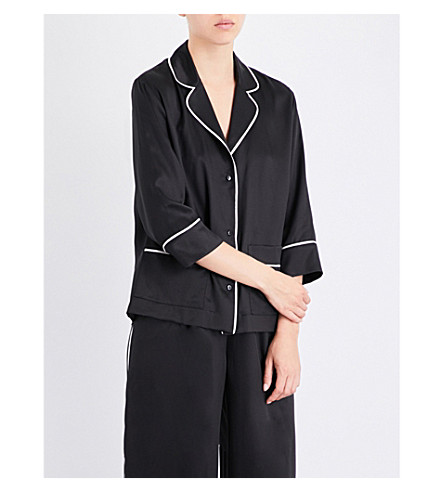 CARINE GILSON Relaxed-fit silk-twill pyjama set (Black+argent+black