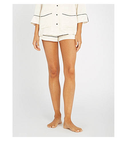 LOVE STORIES Arie piped satin pyjama shorts (100-white