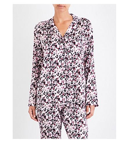 YOLKE Camo-print stretch-silk pyjama top (Camo+dusk