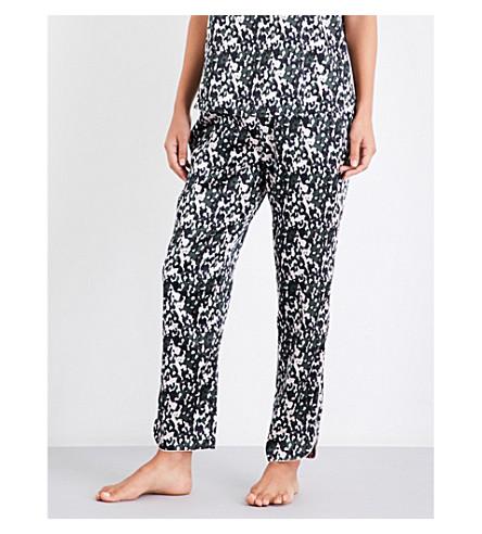 YOLKE Leopard-print stretch-silk pyjama trousers (Camo+forest