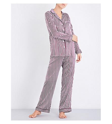 YOLKE Damson Stripe silk pyjama set (Damson+stripe