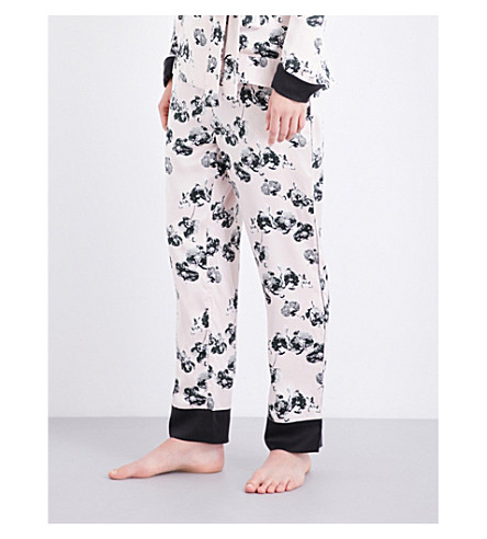 YOLKE Orchid-print silk-satin trousers (Orchid+alpine