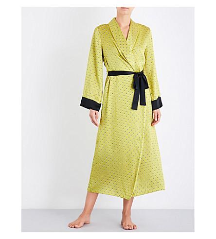 YOLKE Ladybird silk-satin dressing gown (Ladybird+celery
