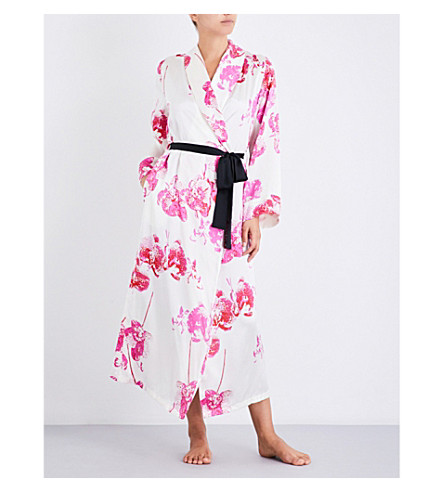 YOLKE Orchid Silk Dressing Gown (Orchid+cherry
