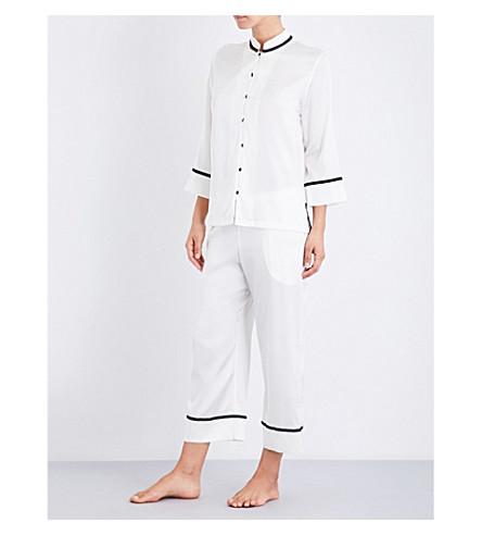 YOLKE Mandarin Blossom stretch-silk pyjama set (Classic+white