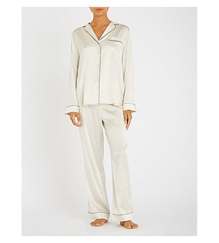 YOLKE Contrast-piping stretch-silk pyjama set (Ivory