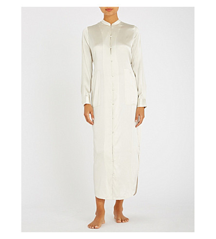 YOLKE Band-collar stretch-silk pyjama set (Marshmallow