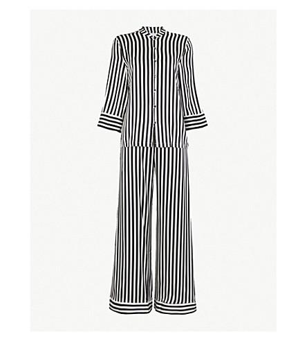 YOLKE Striped stretch-silk pyjama set (Black white